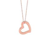 14K Rose Gold Open Heart Pendant Necklace on a 18 Inch Chain style: 460232