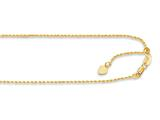 14K Yellow Gold 22 Inch Diamond Cut Adjustable Rope Chain with Lobster Clasp and Small Heart Charm style: 460242