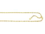 14K Yellow Gold 22 Inch Diamond Cut Adjustable Singapore Chain with Lobster Clasp and Small Heart Charm