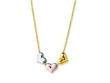 14K Yellow Gold Tri-Color 3 Floating Hearts Pendant on a 17 Inch Chain style: 460260