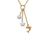 14K Yellow Gold 18 Inch Tri-Color Shell, Starfish, and Dolphin Dangle Sea Life Necklace with Spring Ring Clasp