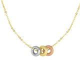 14K Yellow Gold Three Multi Color Charms on a 18 Inch Chain