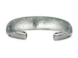 Rhodium Plated 1.5 Inch Textured Stardust Diamond Cut Cuff Bangle