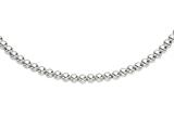 Rhodium Plated 18 Inch Round Bead Necklace with Lobster Clasp