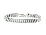 Rhodium Plated 7.5 Inch Mesh Bracelet with Lobster Clasp