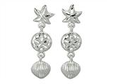 925 Sterling Silver Diamond Cut Starfish, Sand Dollar, and Shell Sea Life Dangle Earrings