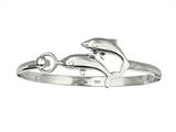 925 Sterling Silver 7.5 Inch Dome Bangle with Two Dolphin Top
