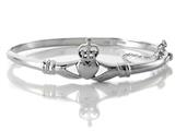 925 Sterling Silver Claddagh Bangle 7 inches with Safety Chain