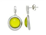 Sterling Silver Light Green Round Simulated Cat`s Eye Drop Earrings