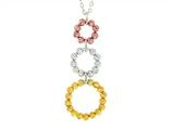 Sterling Silver, Yellow and Rose Finish Ladies Necklace