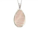 Sterling Silver with Rose Finish Shiny Diamond Cut Bird`s Nest Teardrop Ladies Pendant