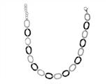 Stainless Steel Rhodium and Black Finish Ladies Necklace