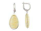 Sterling Silver with Yellow Finish Shiny Diamond Cut Bird`s Nest Teardrop Earrings