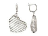 Sterling Silver with Shiny Diamond Cut Bird`s Nest Heart Earrings