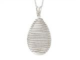 Sterling Silver Shiny Diamond Cut Bird`s Nest Teardrop Ladies Pendant