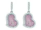 Silver with Rose Finish Rose Mesh Puffed Type Heart Drop Earrings On Post with Butterfly Clasp style: 460490