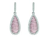 Silver with Rose Finish Rose Mesh Puffed Type Teardrop Earrings On Post with Butterfly Clasp style: 460491