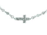 Silver with Rhodium Finish Shiny Cable Chain Small Cross Necklace with White Cubic Zirconia style: 460510