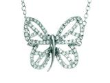 Silver with Rhodium Finish Shiny Cable Chain Butterfly Necklace with White Cubic Zirconia style: 460511