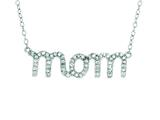 "Silver with Rhodium Finish Shiny Cable Chain ""Mom"" Pendant with White Cubic Zirconia style: 460522"