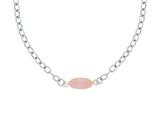 Silver with Rhodium Finish Shiny Flat Rose Oval Anchored On Oval Link Necklace style: 460530