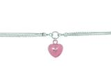 Silver with Rhodium Finish Shiny Rose Puffed Heart and 3-White Rings On 3-Strand Oval Rolo Chain Necklace style: 460535