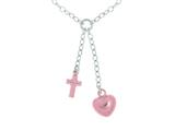 Silver with Rhodium Finish Shiny Cable Link Necklace with Small Puffed Rose Heart and Cross Dangle Charm style: 460537