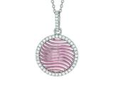 "Silver 18"" Rhodium Finish Rose Mesh Puffed Round Pendant Trimmed with Micropave Cubic Zirconia style: 460551"