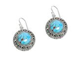 Sterling Silver Simulated Turquoise Round Drop Earrings style: 470006