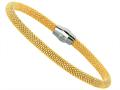 Sterling Silver 7.5 Inch Yellow Plated Beaded Bracelet With Magnetic Clasp