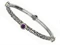Phillip Gavriel 18K Yellow Gold and Sterling Silver Bangle With Four Amethyst Gems