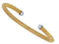 Sterling Silver 4mm Yellow Plated Adjustable Beaded Bangle