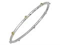 Phillip Gavriel 7.25 Inch Hammered Stackable Slip On Rhodium Bangle With Peridot Stones