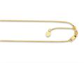 14K Yellow Gold 22 Inch Diamond Cut Adjustable Box Chain with Lobster Clasp and Small Heart Charm