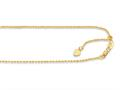 14K Yellow Gold 22 Inch Diamond Cut Adjustable Rope Chain with Lobster Clasp and Small Heart Charm