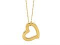 14K Yellow Gold Open Heart Pendant Necklace on a 18 Inch Chain
