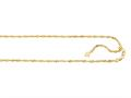 14K Yellow Gold 22 Inch bright-cut Adjustable Singapore Chain with Lobster Clasp and Small Heart Charm