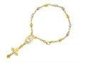 14K Yellow Gold 7 Inch Tri-Color Rosary Symbolic Cross Bracelet