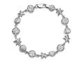 925 Sterling Silver Diamond Cut 7.25 Inch Starfish, Shell, and Flat Round Link Sea Life Bracelet with Lobster Clasp