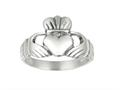 925 Sterling Silver Polished Hands Holding Heart Crown Top Ring