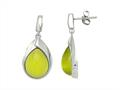 Sterling Silver Light Green Simulated Cat`s Eye Drop Earrings