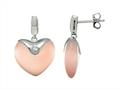 Sterling Silver Light Pink Heart Simulated Cat`s Eye Drop Earrings
