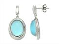 Sterling Silver Light Blue Oval Simulated Cat`s Eye Drop Earrings