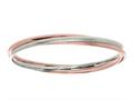 Sterling Silver and Rose Finish Shiny Stardust Textured Slip On Bangle