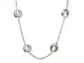 Sterling Silver Rolo Chain with Crescent Moon Links Ladies Necklace
