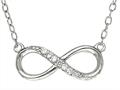 Sterling Silver Infinity With CZ`s Shiny Cable Ladies Necklace