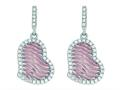 Silver with Rose Finish Rose Mesh Puffed Type Heart Drop Earrings On Post with Butterfly Clasp