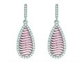 Silver with Rose Finish Rose Mesh Puffed Type Teardrop Earrings On Post with Butterfly Clasp