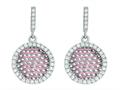 Silver with Rose Finish Rose Mesh Puffed Type Round Earrings On Post with Butterfly Clasp