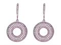 Silver with Rose Finish Shiny Fancy Open Circle Earrings Studded with White Cubic Zirconia